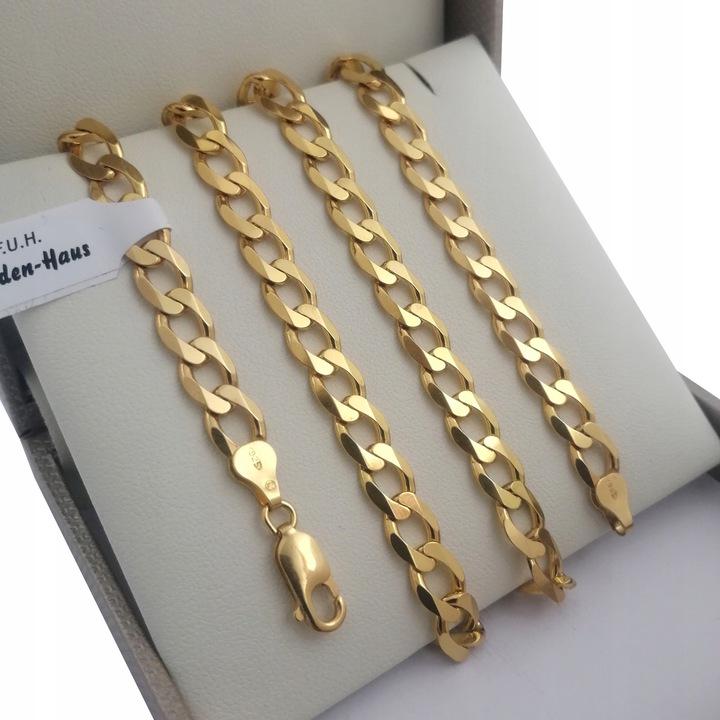Łańcuszek pancerka masywny srebro 925 + 24k złoto