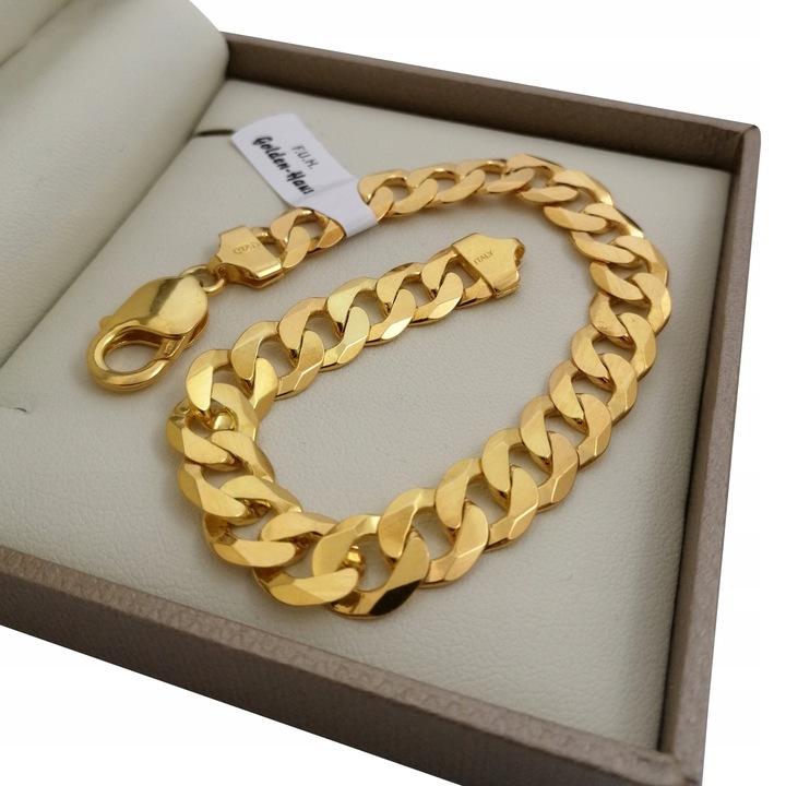 Masywna bransoletka pancerka srebro 925 + 24k złoto